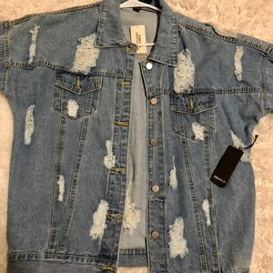 Brand new oversized distressed jean jacket